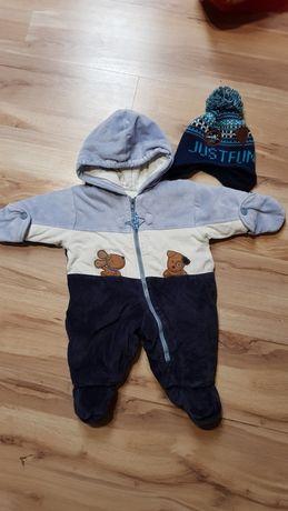 Kombinezon zimowy chłopięcy + czapka rozmiar 68.