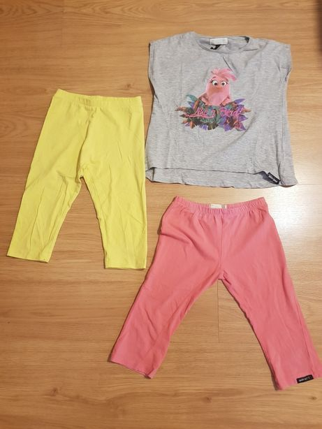 Conjunto Angry Birds + leggins amarelas menina 5/ 6 anos - bom estado
