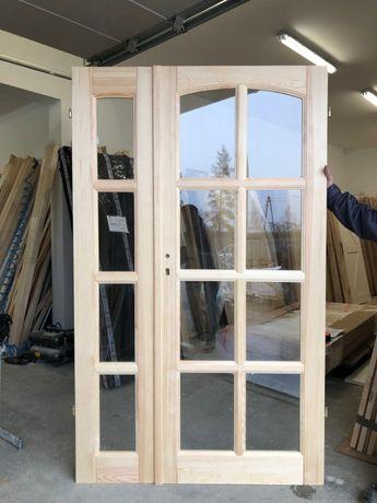 Drzwi OD RĘKI drewniane dwuskrzydłowe szprosy sosna