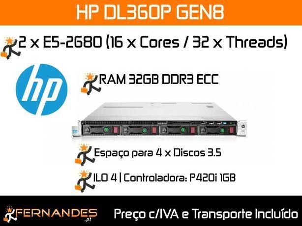 Servidor HP DL360P G8 |  c/ 32 x Cores = E5-2680V1 + 32GB RAM