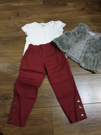 Komplet 110/116 spodnie kamizelka futerko koszulka