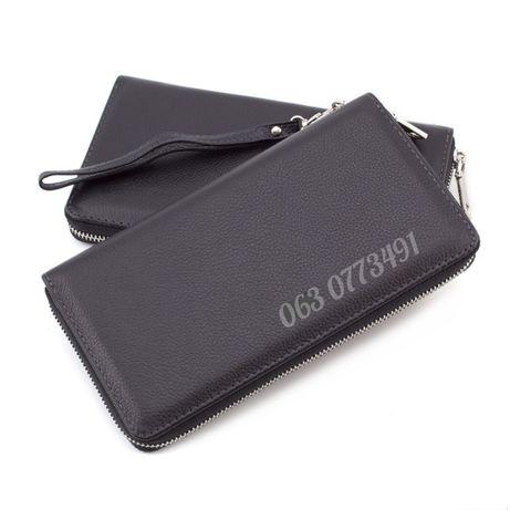 Большой мужской кожаный кошелек клатч портмоне на молнии 7М-1127