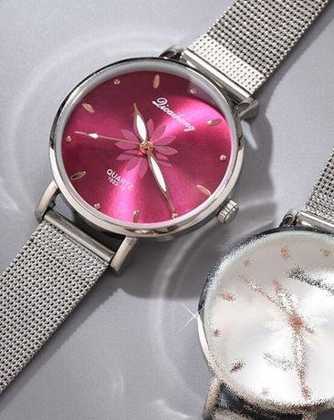 Zegarek damski na bransolecie kwiat różowy srebrny