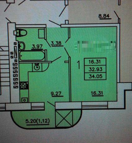 Продам 1 комнатную квартиру в кирпичном доме по Днепродороге