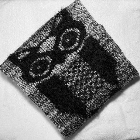 Sweter oversize czarny szary czarno szary sowa luźny house xs s m