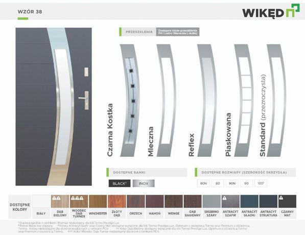 Drzwi zewnętrzne wejściowe do domu Wikęd Premium 54mm Wzór 38A polskie
