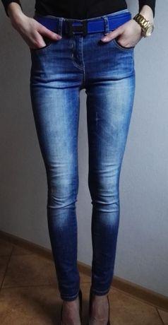 Crafted jeansy spodnie rurki z wysokim stanem S