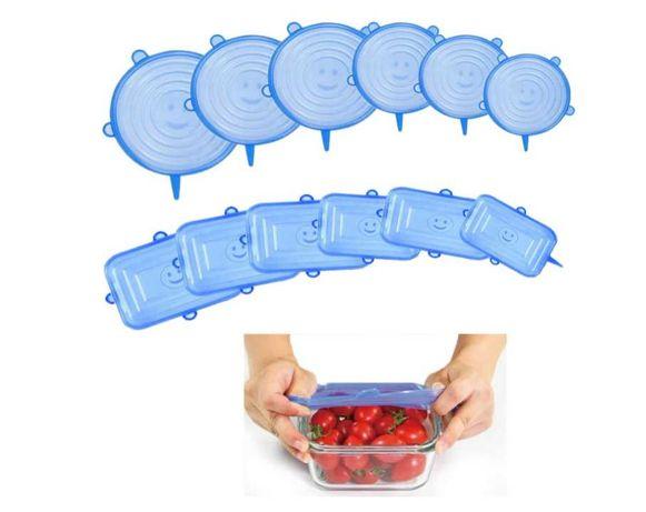 Tampas de silicone elásticas reutilizáveis 12 peças Cozinha Tupperware