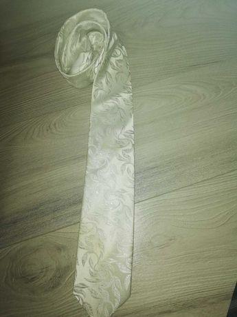 Krawat biały ślubny
