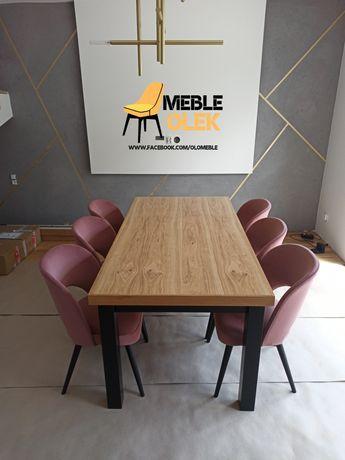 Stół duży rozkładany nowoczesny loft industrial dębowy fornir krzesła