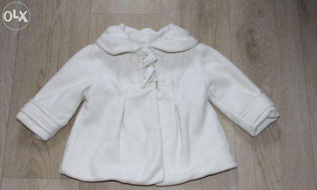 Стильное модное белое флисовое пальто на девочку фирма Next