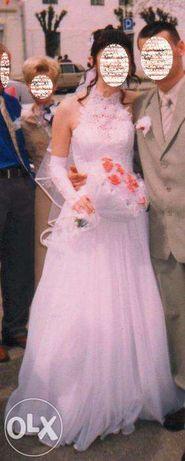 свадебное платье американка НЕ ПЫШНОЕ и перчатки с кружевами 46 р.