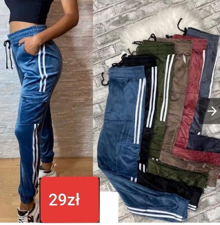 HIT! Spodnie Welurowe L XL! KIESZENIE % Kolory %