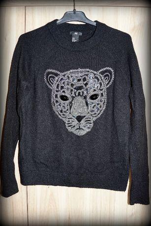 Sweter damski H&M z kotem tygrysem cekinami itd rozmiar S 165/88A bdb