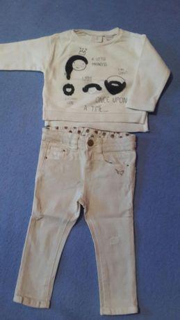 Zara джинсы и реглан и кофточка от 6 мес 1.5 года