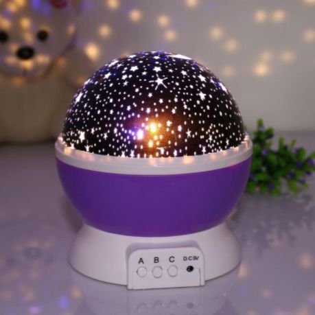 Круглый вращающийся ночник-проектор Star Master фиолетового цвета