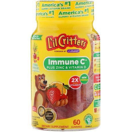 L'il Critters, ImmuneC плюс цинк и витаминD, 60жевательных таблеток