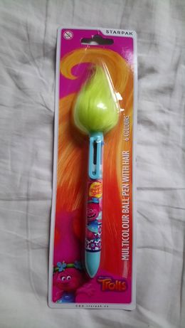 Multicolour długopis Starpak 6 kolorów Trolls z włosami nowy