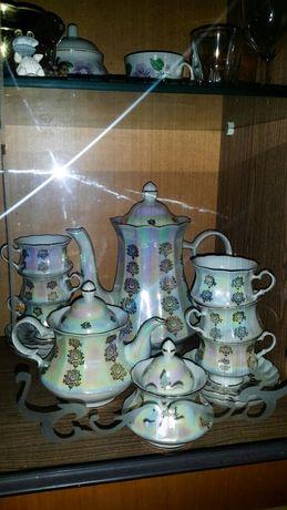 Фарфоровый чайный сервиз перламутр с позолотой
