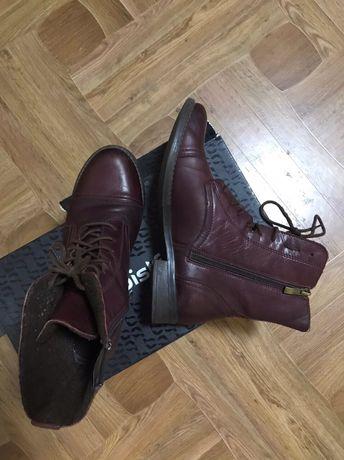 Женские кожаные ботинки бордовые р 38 шкіряні сапожки