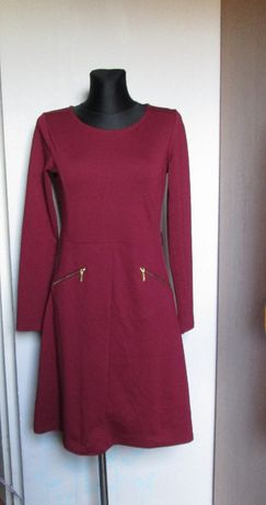 Top Secret śliczna sukienka bordo kieszenie r. 38/40