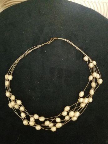 Naszyjnik ślubny naturalne perły rzeczne srebro