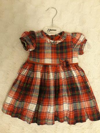 Sukienka świąteczna, krata, czerwona 3-6 miesięcy