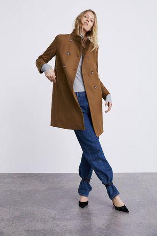 ZARA nowy wełniany dwurzędowy płaszcz camel karmel toffi M 38