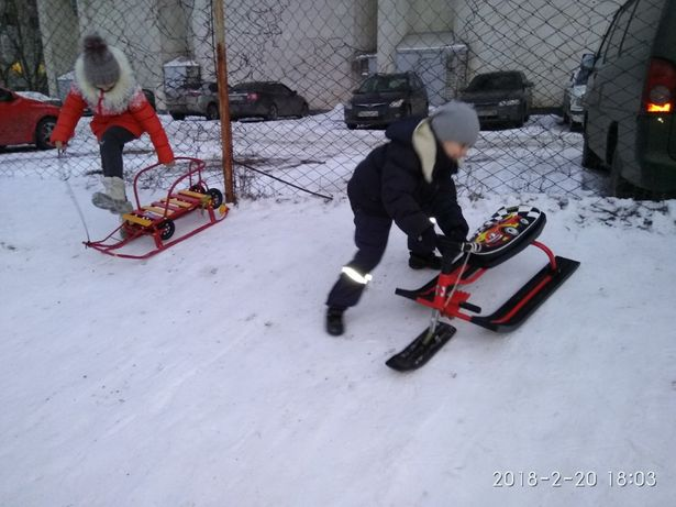 Санки сани поворотн. с рулём снегоход, кимоно, коньки, набор для бокса