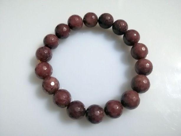 Bransoletka naturalny kamień Jadeit choko szlifowany