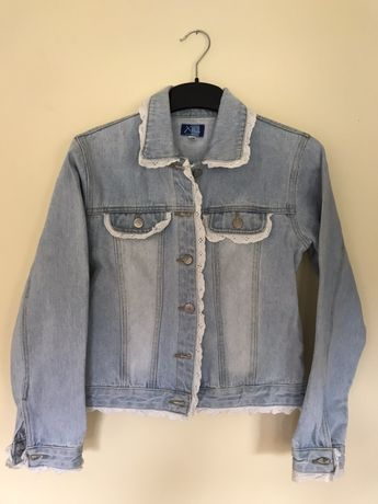 Bluza kurtka jeansowa vintage azurkowa koronka