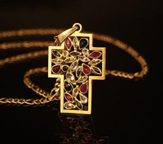 Złoto 585 - złoty łańcuszek FIGARO z krzyżem