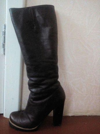 Кожаные сапоги (зима)