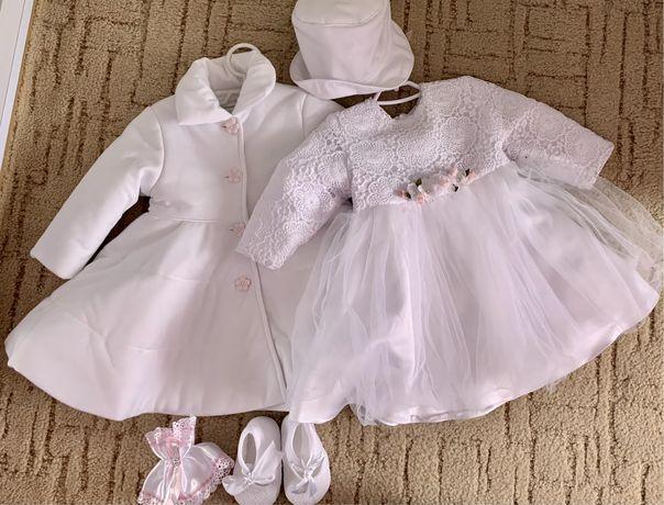 Ubranka do chrztu / sukienka, płaszczyk