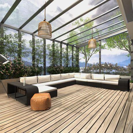vidaXL 11 pcs conjunto lounge de jardim c/ almofadões vime PE preto 46827