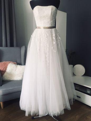 Suknia ślubna haftowna tiulowa w literę A gorset tiul gorsetowa boho