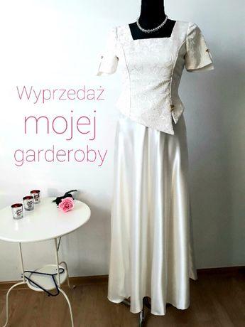Sukienka balowa ślubna ecru r. S 36 długa spódnica i gorset