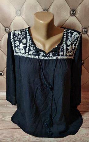 Синяя блуза с вышивкой / вишиванка