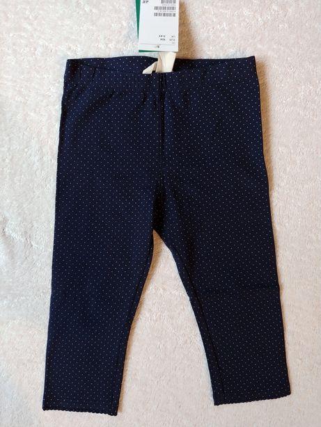 H&M nowe legginsy , granatowe groszki 3-4 latka, rozm. 104
