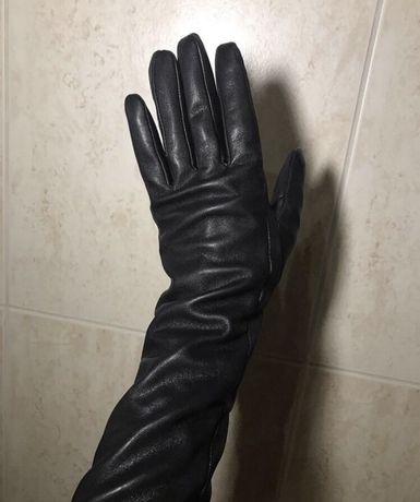 Длинные кожаные женские перчатки