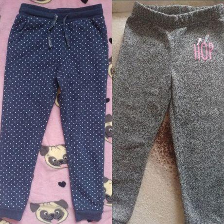 Spodnie 2 pary dresowe granatowe w kropki oraz szare ciepłe dresowe