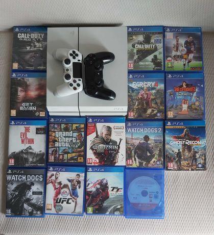 Playstation 4 + 15gier + 2 kontrolery + okablowanie - zestaw FULL