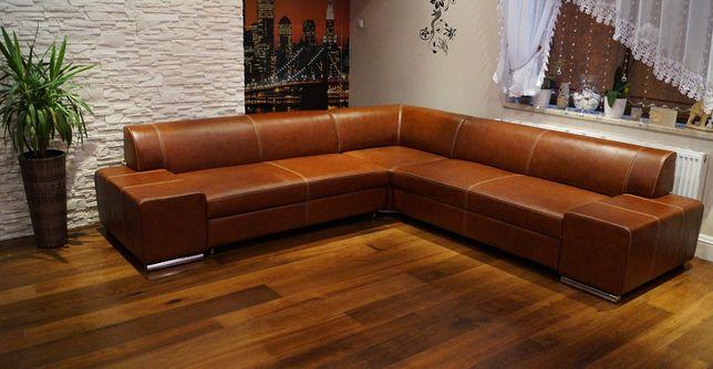 Piękny Narożnik 247x242 SKÓRA skórzany ogówka ze skóry sofa PRODUCENT