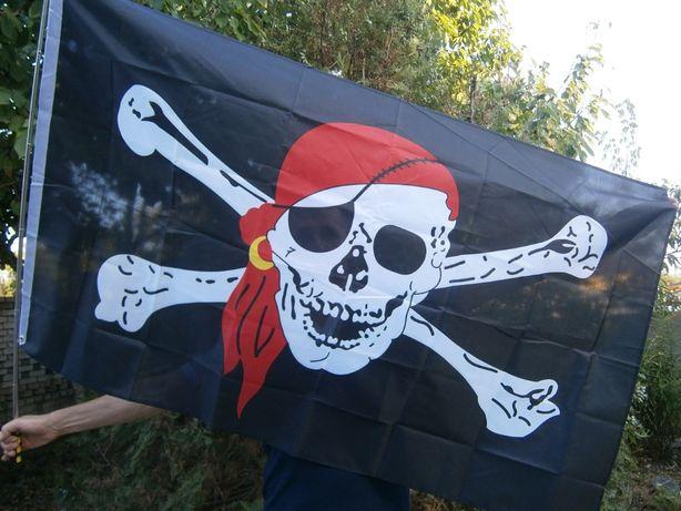 Флаг «Весёлый Роджер» с косынкой 90 см х 150 см..