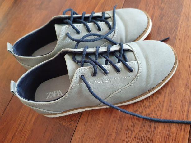 Buty chłopięce 34 zara pantofle skórzane komunia alba szare