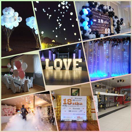 Napis LOVE 120cm, ciężki dym, dekoracje światłem, animator, ścianka