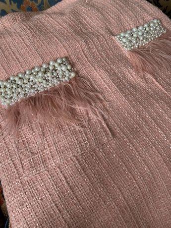 Платье твид твидовое с перьями букле шанель плаття твід