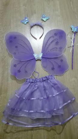 NOWY Strój motyla motylka na bal 4 elementy, fioletowy, niebieski
