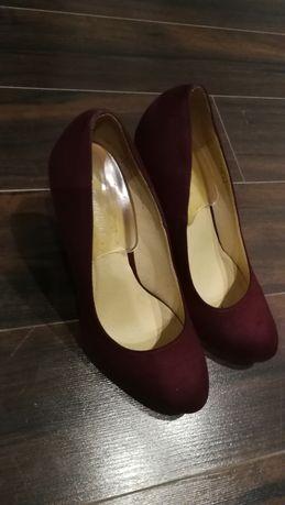 Buty zamszowe bordowe Graceland 37 okragłe czubki piękne sexi