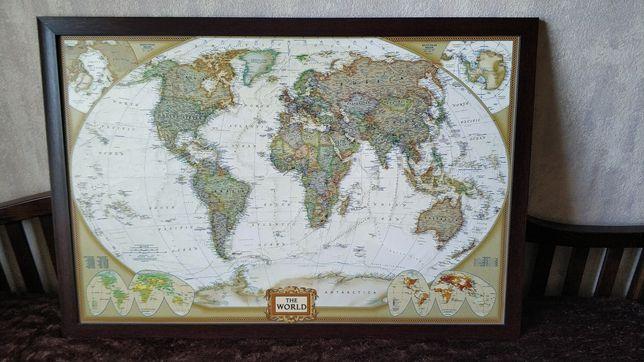 Картина на холсте Карта мира National Geographic